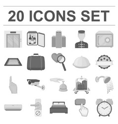 Hotel and equipment monochrome icons in set vector