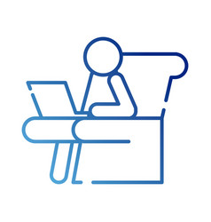 Human figure avatar working in laptop seated vector