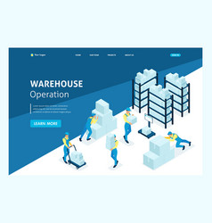 Isometric landing page large warehouses vector