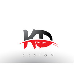 Kd k d brush logo letters with red and black vector