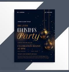 Luxury dark christmas party flyer in gold theme vector