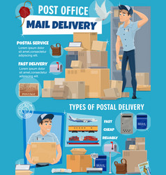 mail delivery service postman and parcels vector image