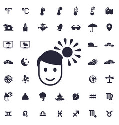 Man on sunny weather icon vector