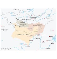 Map central asian gobi desert mongolia china vector