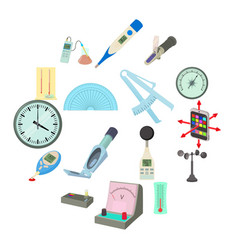 Measure tools icons set cartoon style vector