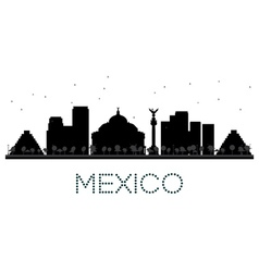 Mexico City skyline black and white silhouette vector
