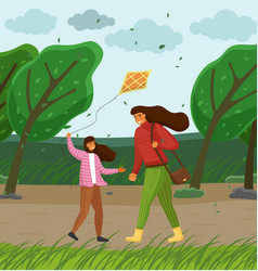 mother and daughter in park playing with a vector image