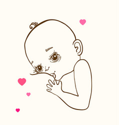 mother breast feeding and cute baby vector image