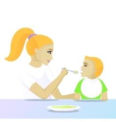Mother feeding child vector