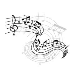 Music notes on staff icon vector