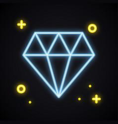 neon diamond brilliant sign in blue color bright vector image
