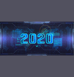 new 2020 year futuristic technology banner vector image