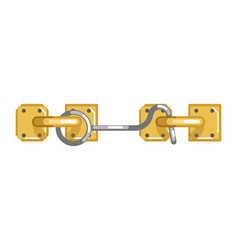 old-fashioned simple metal lock with hook and loop vector image