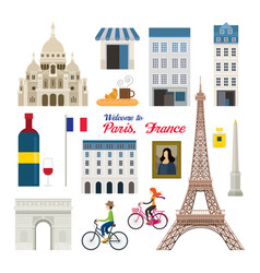 Paris france landmarks and travel objects vector