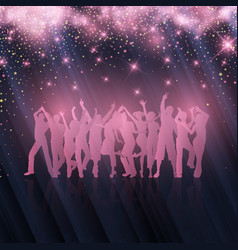 party crowd on starry background vector image