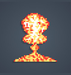pixel art atomic explosion with shadow vector image