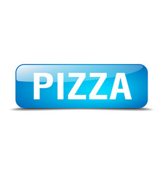 Pizza blue square 3d realistic isolated web button vector