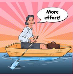 Pop art business woman on boat business success vector