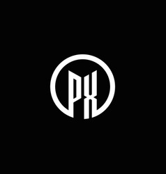 px monogram logo isolated with a rotating circle vector image