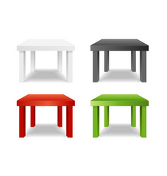 realistic detailed 3d different color table set vector image