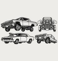 retro custom cars composition vector image