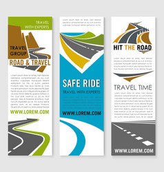 Road trip and travel banner template set design vector