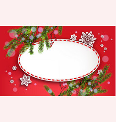 round frame christmas banner vector image