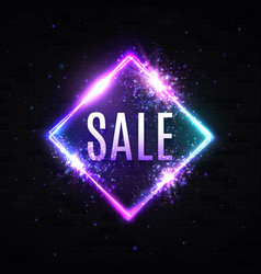sale light 3d neon square discount sign on black vector image