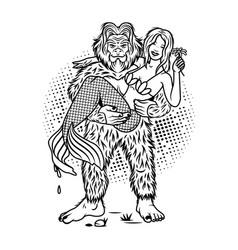 sasquatch and mermaid outdoor adventure logo vector image