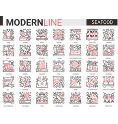 seafood outline mini concept symbols red black vector image