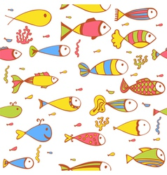 Seamless pattern with fishes and corals hand drawn vector