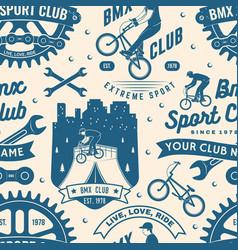 set bmx extreme sport club seamless pattern vector image