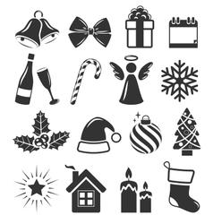 Set christmas holidays icons pictograms flat vector