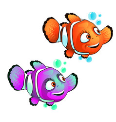 set cute smiling clown fish isolated on white vector image