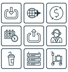 Set of 9 airport icons includes money trasnfer vector