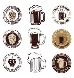 Set of craft beer labels set of vintage beer mugs vector