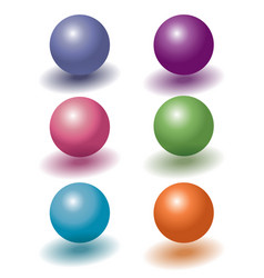 set of six color 3d plastic levitating balls with vector image
