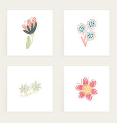 Set square cards hand drawn creative abstract vector