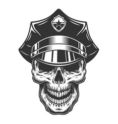 skull in the policeman hat vector image