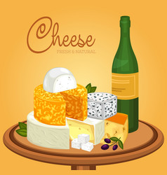 Sliced cheese pieces on plate and bottle of wine vector