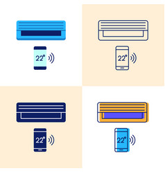 smart air conditioning unit icon set in flat and vector image