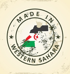 Stamp with map flag western sahara vector