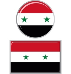 Syrian round and square icon flag vector image