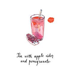 Tea with apple cider and pomegranate watercolor vector