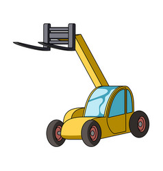 The car lift for loading cargo into the truck for vector