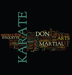 the dos and don ts of karate etiquette text vector image