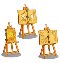 three canvases on stand with different pictures vector image
