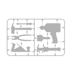 Tools set plastic model kit drill and hammer vector