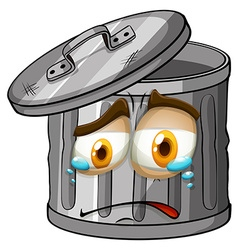 Trashcan with crying face vector image