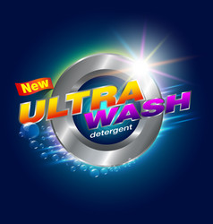 Ultra wash detergent label vector
